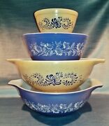 Pyrex Blue Colonial Mist And Homestead 444 403 401 Cinderella Nesting Bowl Vintage