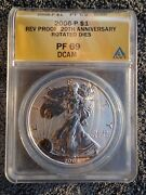 2006 P Silver Eagle Anacs Pf69 20th Anniversary Reverse Proof Rotated Dies