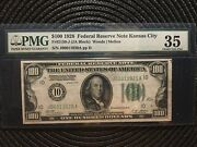 1928 100 Federal Reserve Note Kansas Numeric Seal 10 Pmg [[]]