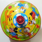 Vintage Tin Toy Spinning Top Made In Germany 1960s Walt Disney Production