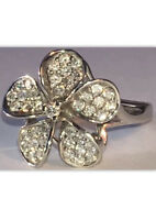 14k White Gold Plumeria Flower Ring Large Diamonds From Na Hoku Store In Hawaii