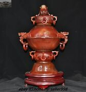 China Natural Agate Onyx Hand Carving Dragon Beast Statue Incense Burner Censer