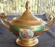 Antique Bohemia Ceramic Footed Sugar Bowl - 24k Gold Encrusted - Collectible