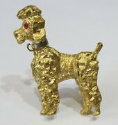 French Poodle 14 Kt Yellow Gold With Ruby Eyes Pin