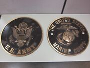 Collectible Red Bronze U.s. Military Emblem Metal Plaques - Army And Marine Corps