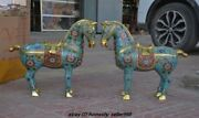 18china Royal 100 Pure Bronze Cloisonne Enamel Lucky Wealth Horse Steed Statue