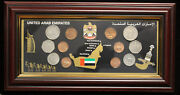 1994 2001 United Arab Emirates Souvenir 12 Coin Set Framed And Mounted Display