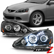 For 05-06 Acura Rsx Black Led [halo Ring] Projector Headlights Headlamp Pair L+r