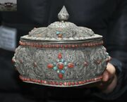 6 Old Tibet Temple Silver Filigree Inlay Red Coral Turquoise Jewelry Box Boxes