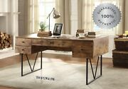 Writing Desk Drawers Vintage Industrial Style Table Rustic Modern Farmhouse Wood
