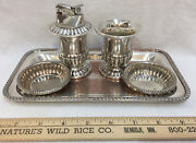 Table Lighter Tray Toothpick Holder Bowl Canterburg Silverplate On Copper Lot 5