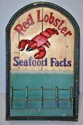 Vintage Antique Wood Wooden Red Lobster Seafood Restaurant Facts 36 X 22