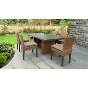 Laguna Rectangular Outdoor Patio Dining Table With 6 Armless Chairs In Wheat