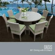 Florence 60 Outdoor Patio Dining Table With 8 Armless Chairs In Cilantro