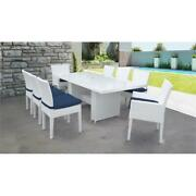 Monaco Rectangular Patio Dining Table 6 Armless Chairs 2 Arm Chairs In Navy
