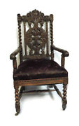Antique Victorian Charles Ii Style Carved Oak Arm Chair 19th Century 47
