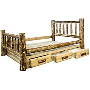 Ca King Size Log Bed With Drawers Rustic Lodge Cabin Furniture Amish Made