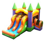 Commercial Bounce House Combo Inflatable Slide With Blower Orange Blow Up Slide