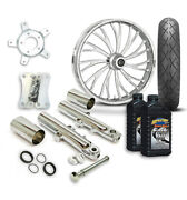 Rc 21 Axxis Wheel Tire And Complete Chrome Front End Package Harley 14-19 Flh