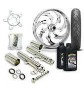 Rc 21 Assault Wheel Tire And Complete Chrome Front End Package Harley 14-19 Flh