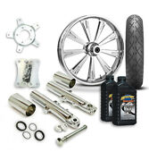 Rc 21 Raider Wheel Tire And Complete Chrome Front End Package Harley 14-19 Flh