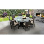 Belle 60 Inch Outdoor Patio Dining Table With 8 Armless Chairs In Wheat