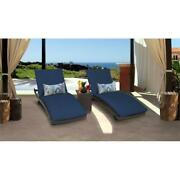 Belle Curved Chaise Set Of 2 Outdoor Patio Furniture With Side Table In Navy