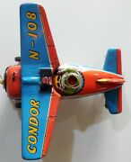 Vintage Tin Toy Airplane Condor N-108 Modern Toys Japan 1960s Battery Operated