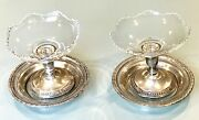 Vintage Antique Sterling Silver Pair Sugar Candy Bowls Dishes Plates Coasters