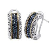 18kt Gold And Sterling Silver Earrings With Blue Sapphire