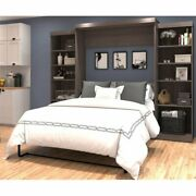 Bestar Pur 115 Queen Wall Bed With Storage In Bark Gray