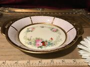 Nippon Hand Painted Gold Moriage Bowl Dish With Handles 8 3/8x1 1/4