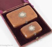 Antique Victorian Coin Purse Wallet, Cigarette Case In Leather And Sterling Silver