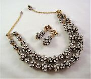 Vintage Necklace Dangle Earring Set 2 Strands Clear Crystal Chaton Cluster Beads