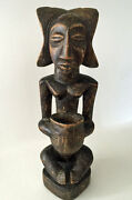 African Wooden Vintage Statue Luba Tribe From Congo Woman Bowl Bearer 1960s