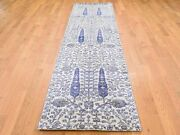 2'7x10'1 Willow And Cypress Tree Design Wool And Silk Runner Handknotted G44262