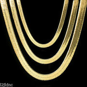 Men And Lady 14k Gold Plated 4mm - 14mm Flat 20 Or 24 Herringbone Necklace Chain