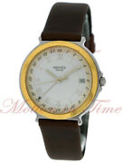 Hermes Classic Gmt Silver Roman Dial - Steel With A Vintage Brown Strap