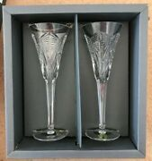 Waterford Crystal The Millennium Collection Happiness Toasting Flutes W/box