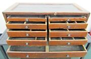 Vintage Atwater Kent Radio Repairmanand039s Wooden Tool Chest Box Antique 9 Drawers