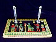 Egyptian Desk 2 Pen Holder Inlaid Wood Mother Of Pearl Paua Pictographs Front