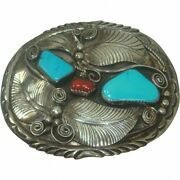 Navajo Rare Vintage Castle Dome Turquoise Coral Belt Buckle Old Pawn Silver 40s
