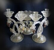 Murano Unique Art Glass Compote And Two Candle Holders With Grapes And Gold