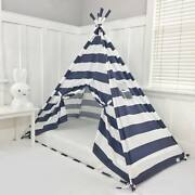 Play Tent Canopy Bed In Navy Blue And White Stripe With Doors