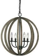 Pendant 20.5 In. W. 4-light Weathered Oak Wood/antique Forged Iron Candle-style