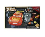 Disney Cars 7 Wood Puzzles Storage Box Tray Educational Learn Jigsaw Puzzle New