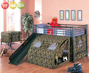 Davis Traditional Tent Loft Bed With Camouflage Fabric Fort