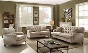 Aliza Contemporary Beige Button Tufted Living Room Sofa And Love Seat Set In Brown