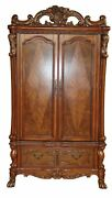 Dresden Antique Style Tv Armoire In Traditional Cherry Oak Finish Brown Red