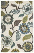 Eden Harbor Wool Area Rug 10 X 14and039 Green Brown Blue Teal Grey Ivory White Floral